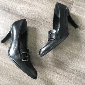 Nine West | Black Buckle Loafer Heels